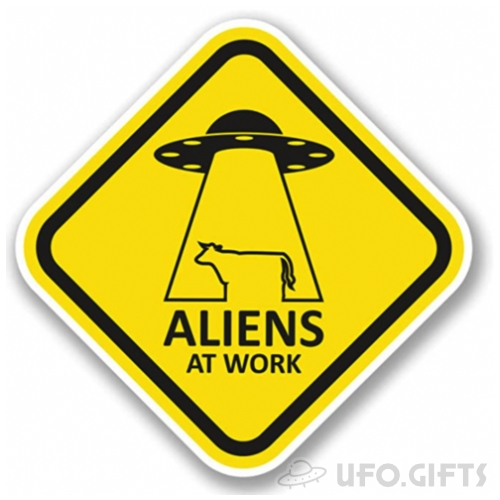 Aliens at work UFO Sticker